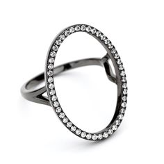 Our black rhodium oval open circle ring is a classically modern theme with a touch of class, an elegant shape with that less is more feel. Key Jewelry, Jewellery, Open Ring, Black Rhodium, Creative Inspiration, Minimal Look, Silver Rings, Band, Stone
