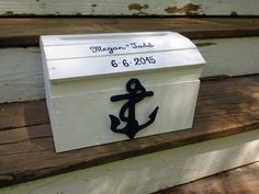 Nautical wedding card box Anchor wedding beach by PineNsign