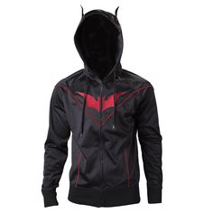 Features The Official Batman Beyond Hoodie Limited edition Premium quality construction Become the new hero Gotham deserves The Goddamn Batman The Official Batman Beyond Hoodie is an awesome tribute to the Batman Beyond universe. The black and red zip-up design features the iconic bat logo across the chest in red and bat ears!! Material: 100% Polyester …