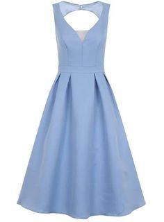 *Chi Chi London Blue Plunge Open Back Skater Dress