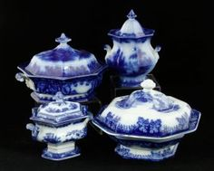 4 Staffordshire Flow Blue Covered Tureens
