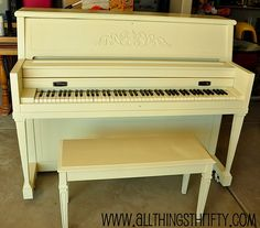tutorial on how to refinish a piano.  I want to do this with a warm bright greenish blue!  or maybe even a coral color...... hmmm. anyone else have color suggestions?