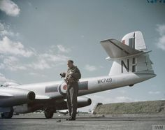 Flight Lieutenant Chales Muldownie of No 72 Squadron stands beside the tail of Gloster Meteor at RAF North Weald, Essex. Gloster Meteor, Blake Lively Style, Experimental Aircraft, Navy Aircraft, Royal Air Force, Royal Navy, Cold War, Vampires, Fighter Jets