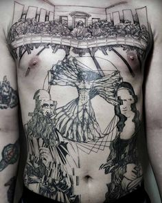 Huge chest piece and stomach tattoo inspired by Leonardo da Vinci. Mona Lisa, last supper, vitruvian man Марк Мокрый