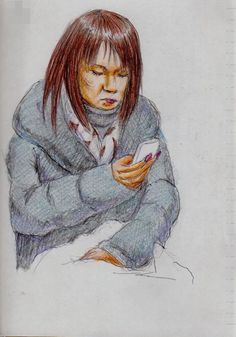 長い爪のお姉さん(通勤電車でスケッチ) This is a woman of sketch that was a long nail. I drew in a commuter train.
