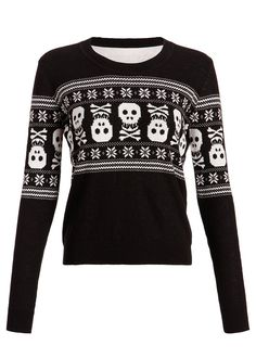 Womens Holiday Inspired Skull Ugly Christmas Sweater -