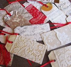 VINTAGE LACE SCRAP TAGS. Beautiful way to make a special gift even more special. At xmasmuse.etsy.com