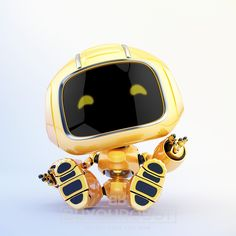 Childish mini unit 9 robot toy resting and greeting, render Character Modeling, 3d Character, Character Design, Otto Schmidt, Mike Mignola, Zbrush, Cthulhu, Robot Cute, Concept Art Landscape