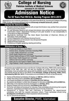 Admissions in College Of Nursing Pims Islamabad Islamabad :College of Nursing Pakistan Institute of Medical Sciences Admission 2014-2015. College of Nursing Pakistan Institute of Medical Sciences...