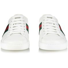 Gucci Side-stripe leather trainers (7 205 ZAR) ❤ liked on Polyvore featuring shoes, sneakers, white sneakers, gucci shoes, white trainers, green leather sneakers et crocodile sneakers