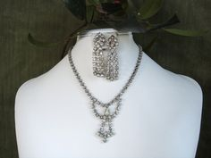 Mid Century Rhinestone Necklace and Earrings Shiny and Bright Holiday Set by EyeSpyGoods on Etsy
