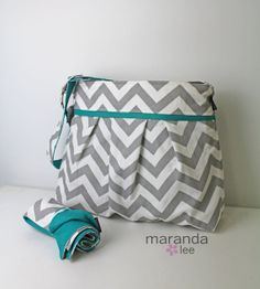 Christmas wishes- Stella Chevron Diaper Bag Set with Changing Pad Mat  by marandalee, $109.00
