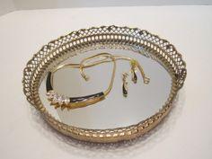 SOLD - Vintage Brass Jewelry Tray Brass Mirrored Dresser Tray by vertzvkv, $18.00