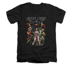 Justice League - Dark Days Adult V-Neck T-Shirt