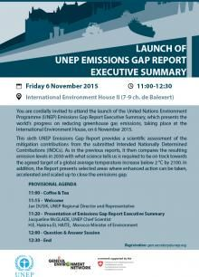 Launch of UNEP Emissions Gap Report Executive Summary , 6 November at the International Environment House.