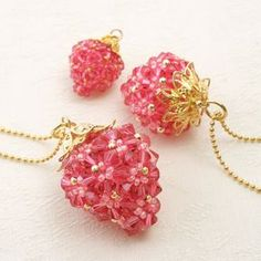 DIY Strawberry Pendant #Seed #Bead #Tutorials
