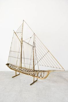 Sculptural brass sailboat by Curtis Jere, circa Beautiful modern sailboat on floating base. Great nautical design for your home or office. Ship In Bottle, Small Yachts, Model Ship Building, Jungle Art, Flat Stone, Table Top Design, Boat Design, Design Art, Nautical Design