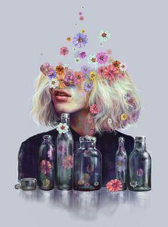 Metamorphosis by Veronika Weroni Vajdova - paintings - Blumen Metamorphosis Art, Gcse Art, Surreal Art, Aesthetic Art, Collage Art, Art Inspo, Art Girl, Amazing Art, Pop Art