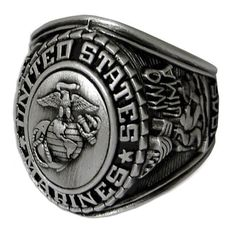 Son Sales Jewelry, US Marine Corps Ring - Style No. 22 Silver antique finish cast with detailed Marine Corps insignia. Available in whole sizes Marine Corps Silver Ring, Cast Bronze Top with Insignia, Style # 22 Marine Corps Insignia, Marine Corps Rings, Us Marine Corps, Military Insignia, Antique Rings, Antique Silver, Military Jewelry, Army Navy Store, Once A Marine