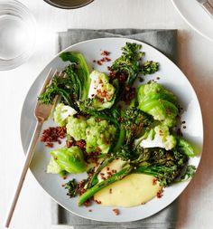 Romanesco With Seared Broccolini, Lemon Curd and Quinoa by Tyson Cole, wsj #Roamnesco #Broccolini