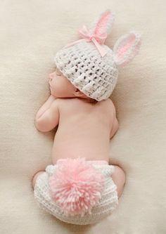 AccessoryStation® Mode unisexe nouveau-né garçon et fille Crochet tricoté Tenues bébé Costume Set Photo Photographie Prop-Lapin rose AccessoryStation