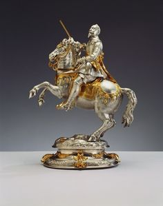 Equestrian statuette of Gustavus II Adolphus of Sweden, c.1630 (silver-gilt)  Such a great story in history.