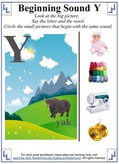 letter y preschool worksheet