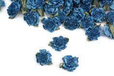 Blue Carnation Satin Fabric Flowers Mini Flowers by felinusfabrics