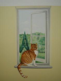 Trompe l'oeil mural painting of cat looking out of window - #WallDecor #TrompeLoeil - pb†å