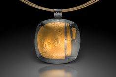 Bryce Series-Oxidized Square pendant with Keum Boo