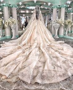 Elegant patterned veil and princess wedding gown. Princess Wedding Dresses, Dream Wedding Dresses, Bridal Dresses, Wedding Gowns, Wedding Dressses, Wedding Bells, Wedding Venues, Wedding Photos, Wedding Ideas