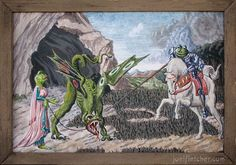 Miniature painting parody Saint Frog and the Dragon. edge