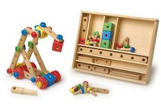 A quality wooden construction set in a handy wooden carry box with a sliding lid With this set you can let their creativity run wild The set Childrens Garden Toys, Wooden Building Blocks, Wooden Buildings, Lego, Workspace Inspiration, Wood Toys, Wooden Boxes, Wood Crafts, Woodworking Projects