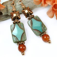 Copper Dangle Aqua Czech Glass Carnelian Handmade Earring OOAK Jewelry | PrettyGonzo - Jewelry on ArtFire