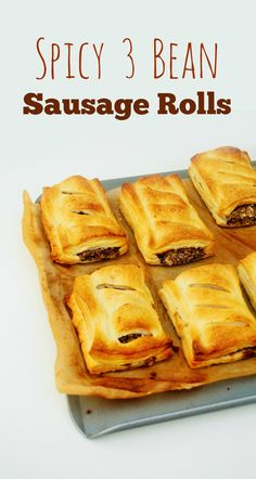 Spicy 3 Bean Sausage Rolls - a spicy bean mixture enclosed in flaky golden puff pastry