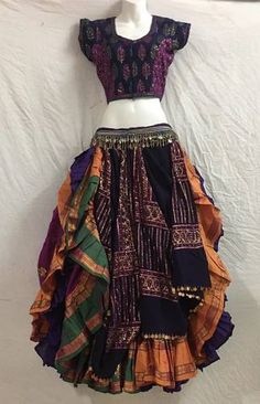 Eye-catching Choli Dupatta Veil with a embroidered Aishwarya and Solid Colored 25 yd Skirt - Magical Fashions Belly Dance Outfit, Tribal Belly Dance, Belly Dance Costumes, Belly Dance Belt, Dance Outfits, Dance Dresses, Cool Outfits, Fashion Outfits, Navratri Dress