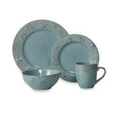 Thomson Pottery Cape Cod Dinnerware Set Light Blue - Dusty blue dinnerware is embossed with a seashell design to add a fresh touch to any table. Stoneware is microwave safe for reheating and dishwasher safe. Dinnerware Sets For 12, Stoneware Dinnerware Sets, Blue Dinnerware, Casual Dinnerware, Dinnerware Ideas, Coastal Style, Coastal Decor, Coastal Living, Coastal Cottage
