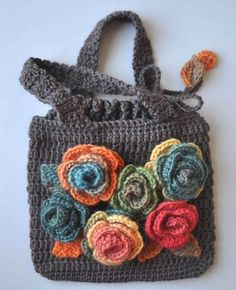 ROSE ROSES Crochet Rose Appliques Bag/Purse 2019 I really need to get over it and commit to learning how to crochet! The post ROSE ROSES Crochet Rose Appliques Bag/Purse 2019 appeared first on Scarves Diy. Free Crochet Bag, Love Crochet, Beautiful Crochet, Crochet Flowers, Knit Crochet, Crochet Bags, Yarn Flowers, Crochet Handbags, Crochet Purses