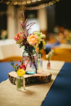 Like the contrasting colors - would do different centerpieces and table clothes but like the warm and cool.