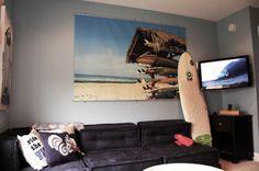 surf bedroom for Garrett's side. Liking the poster