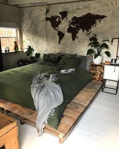 Home decor bedroom Dream Rooms, Dream Bedroom, Home Decor Bedroom, Bedroom Bed, Bedroom With Couch, World Map Bedroom, Room Interior, Interior Design Living Room, Aesthetic Rooms