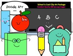 This School Days are Here Clipart collection includes all the images shown in the sample picture and more. This pack includes 14 different clips:* All Clips include a black line master!* Chalkboard - ABC* Chalkboard - School is Cool* Apple* Backpack* Book Smartie* Pencil* RulerGraphics come in PNG format 300 dpi format.My graphics are suitable for printing and digital projects and can be easily re-sized smaller to suit other needs, graphics measure different sizes.Original Artwork by…