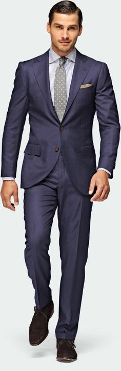 A cool blue wool-silk suit from Suitsupply                                                                                                                                                                                 More