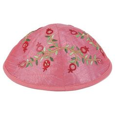 Pink Yair Emanuel Kipppah with Pomegranate Branch Embroidery