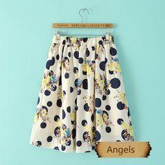 女裝日單複古印花甜美高腰半身裙146 | Angels