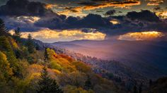 View of the Smoky Mountains in the springtime with purple haze in the background