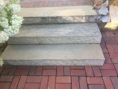 Maybe do steps out of limestone? Landing to hardscape and exposed aggregate on the porch? Too many materials?