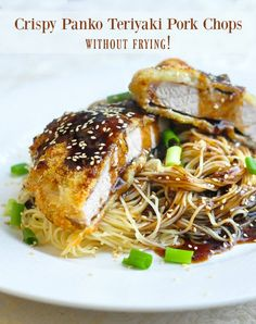 Baked Panko Teriyaki Pork Chops. Not fried! Crispy baked, juicy pork chops served with an easy but very flavourful teriyaki sauce. Delicious served with your favourite noodles.