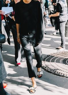 all black outfit with pearl sliders