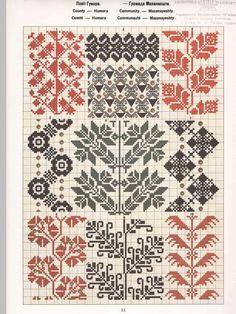 Ukrainian and Romanian embroidery of Bukovyna-Bucovina Cross Stitch Borders, Cross Stitch Charts, Cross Stitch Patterns, Folk Embroidery, Cross Stitch Embroidery, Embroidery Patterns, Knitting Charts, Knitting Patterns, Stitch Witchery